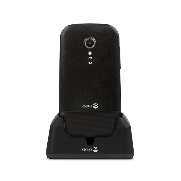 Doro primo 2404 negro móvil senior dual sim 2.4'' cámara 0.3mp bluetooth radio fm micro sd incluye base de carga