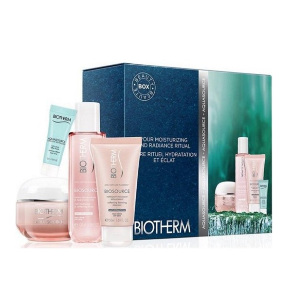Biotherm aquasource crema piel seca 50ml + nettoyant 50ml + lotion 100ml + fresh eye cream 3ml
