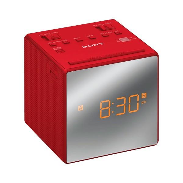 Sony radio despertador rojo icfc1tr con 2 alarmas configurables