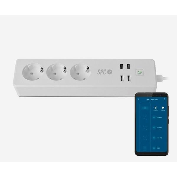 Spc 6202b enchufe inteligente por wifi temporizador con 3 schukos y 4 usb-a