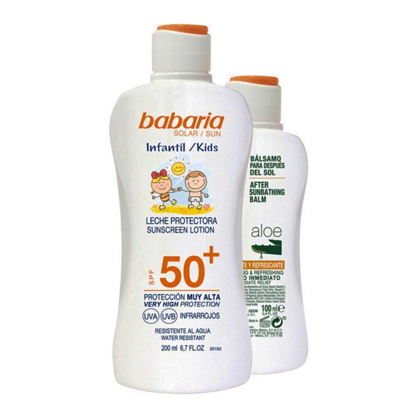 Babaria kids leche spf50+ waterproof 200ml + aloe balsamo 100ml