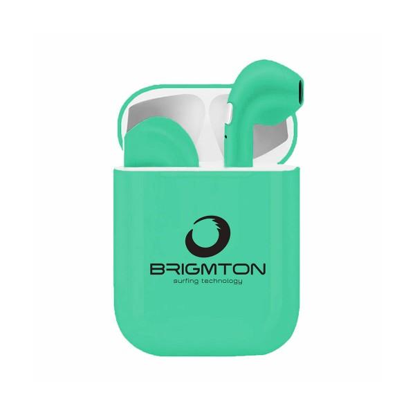Brigmton bml-18a verde auriculares inalámbricos manos libres bluetooth con micrófono y estuche batería
