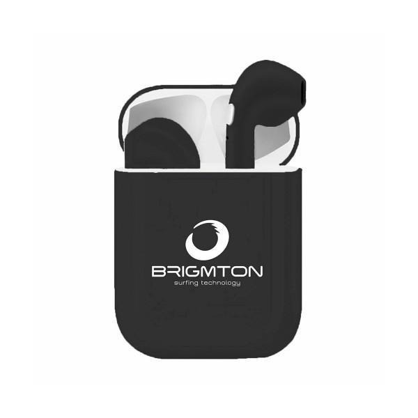 Brigmton bml-18n negro auriculares inalámbricos manos libres bluetooth con micrófono y estuche batería