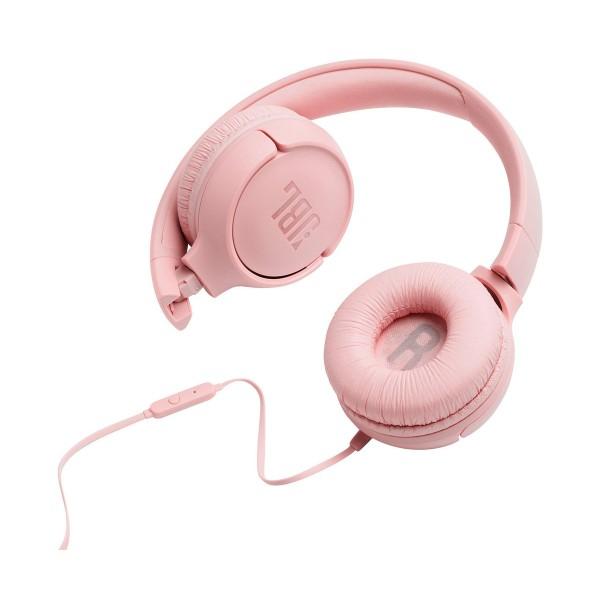 Jbl tune 500 rosa auriculares pure bass cable plano sin enredos